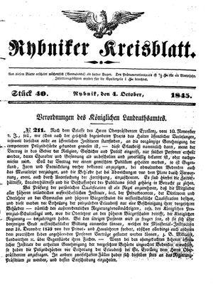 Rybniker Kreisblatt vom 04.10.1845