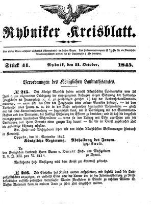 Rybniker Kreisblatt vom 11.10.1845
