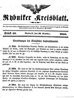 Rybniker Kreisblatt vom 18.10.1845