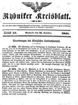 Rybniker Kreisblatt vom 25.10.1845
