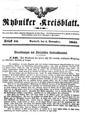 Rybniker Kreisblatt vom 01.11.1845