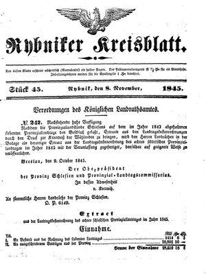 Rybniker Kreisblatt vom 08.11.1845