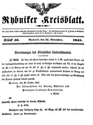 Rybniker Kreisblatt vom 15.11.1845