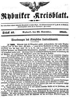 Rybniker Kreisblatt vom 22.11.1845