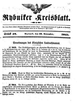 Rybniker Kreisblatt vom 29.11.1845