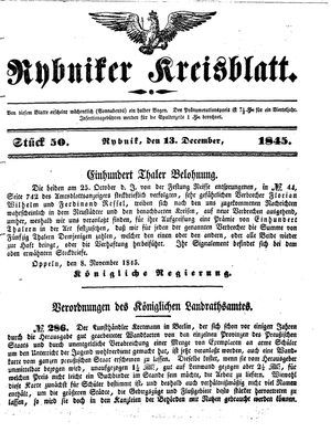 Rybniker Kreisblatt vom 13.12.1845