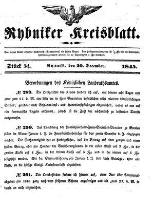 Rybniker Kreisblatt vom 20.12.1845