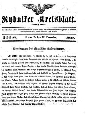 Rybniker Kreisblatt on Dec 27, 1845
