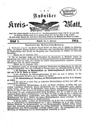 Rybniker Kreisblatt vom 03.01.1914