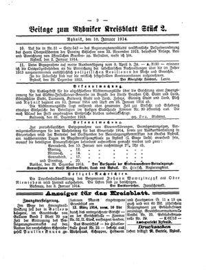 Rybniker Kreisblatt vom 10.01.1914