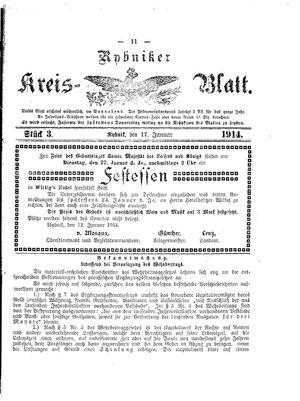 Rybniker Kreisblatt vom 17.01.1914