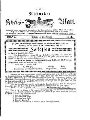 Rybniker Kreisblatt vom 24.01.1914