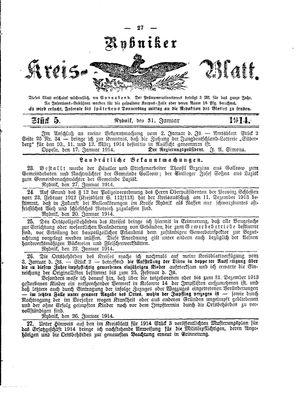Rybniker Kreisblatt vom 31.01.1914