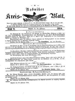 Rybniker Kreisblatt vom 28.02.1914