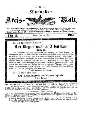 Rybniker Kreisblatt vom 14.03.1914