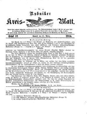 Rybniker Kreisblatt on Mar 21, 1914