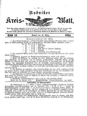 Rybniker Kreisblatt vom 28.03.1914