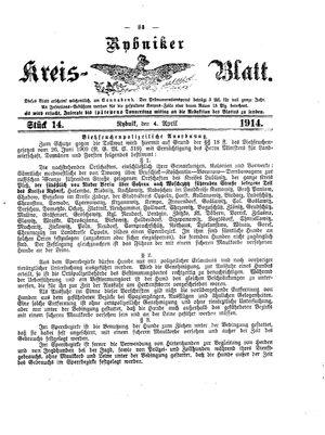Rybniker Kreisblatt vom 04.04.1914