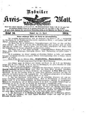 Rybniker Kreisblatt vom 18.04.1914