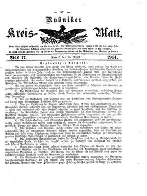Rybniker Kreisblatt vom 25.04.1914