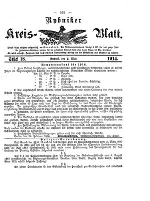 Rybniker Kreisblatt vom 02.05.1914