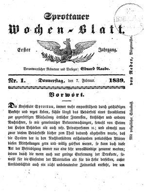 Sprottauer Wochenblatt vom 07.02.1839
