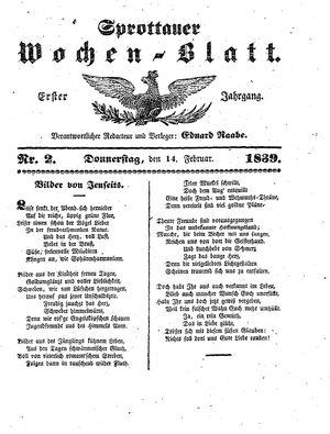 Sprottauer Wochenblatt vom 14.02.1839