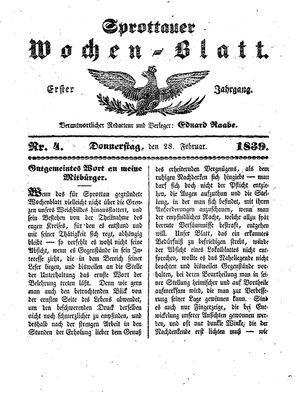 Sprottauer Wochenblatt vom 28.02.1839