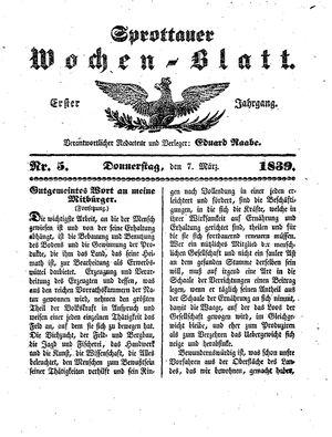 Sprottauer Wochenblatt vom 07.03.1839