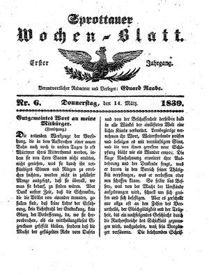 Sprottauer Wochenblatt vom 14.03.1839
