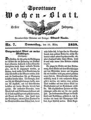 Sprottauer Wochenblatt vom 21.03.1839