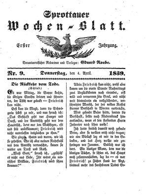 Sprottauer Wochenblatt vom 04.04.1839