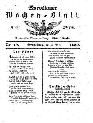Sprottauer Wochenblatt vom 11.04.1839