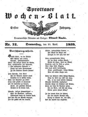 Sprottauer Wochenblatt vom 25.04.1839