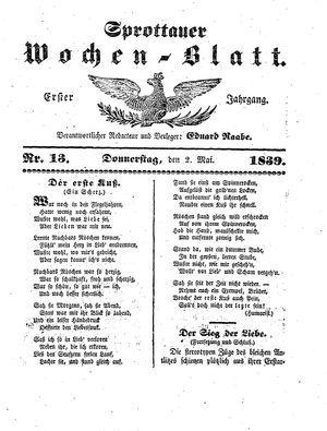 Sprottauer Wochenblatt vom 02.05.1839