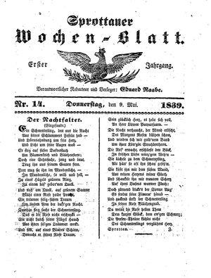 Sprottauer Wochenblatt vom 09.05.1839