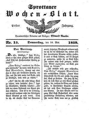 Sprottauer Wochenblatt vom 16.05.1839