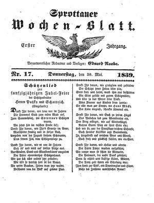 Sprottauer Wochenblatt vom 30.05.1839