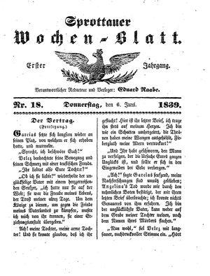 Sprottauer Wochenblatt vom 06.06.1839