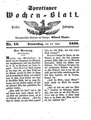 Sprottauer Wochenblatt vom 13.06.1839