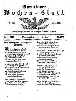 Sprottauer Wochenblatt vom 20.06.1839