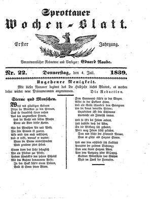 Sprottauer Wochenblatt vom 04.07.1839