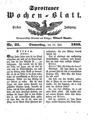 Sprottauer Wochenblatt vom 11.07.1839