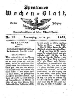 Sprottauer Wochenblatt vom 18.07.1839