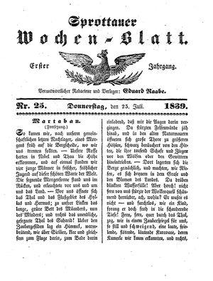 Sprottauer Wochenblatt vom 25.07.1839