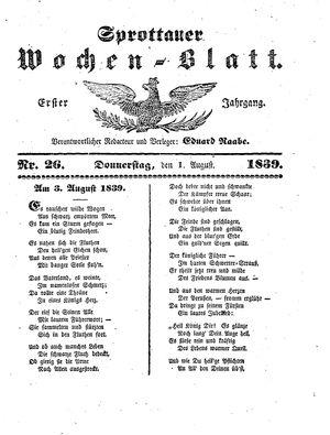 Sprottauer Wochenblatt vom 01.08.1839