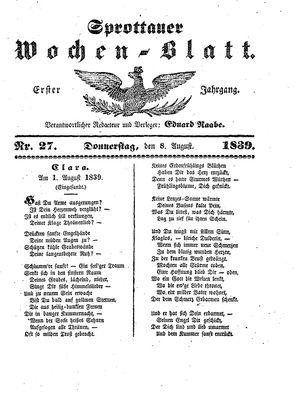 Sprottauer Wochenblatt vom 08.08.1839