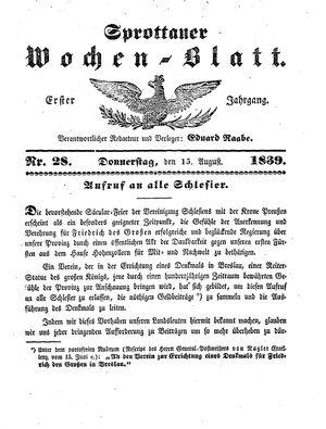 Sprottauer Wochenblatt vom 15.08.1839