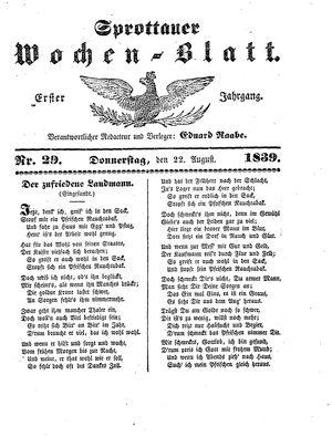 Sprottauer Wochenblatt vom 22.08.1839