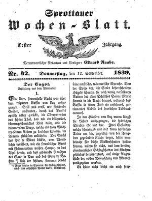 Sprottauer Wochenblatt vom 12.09.1839